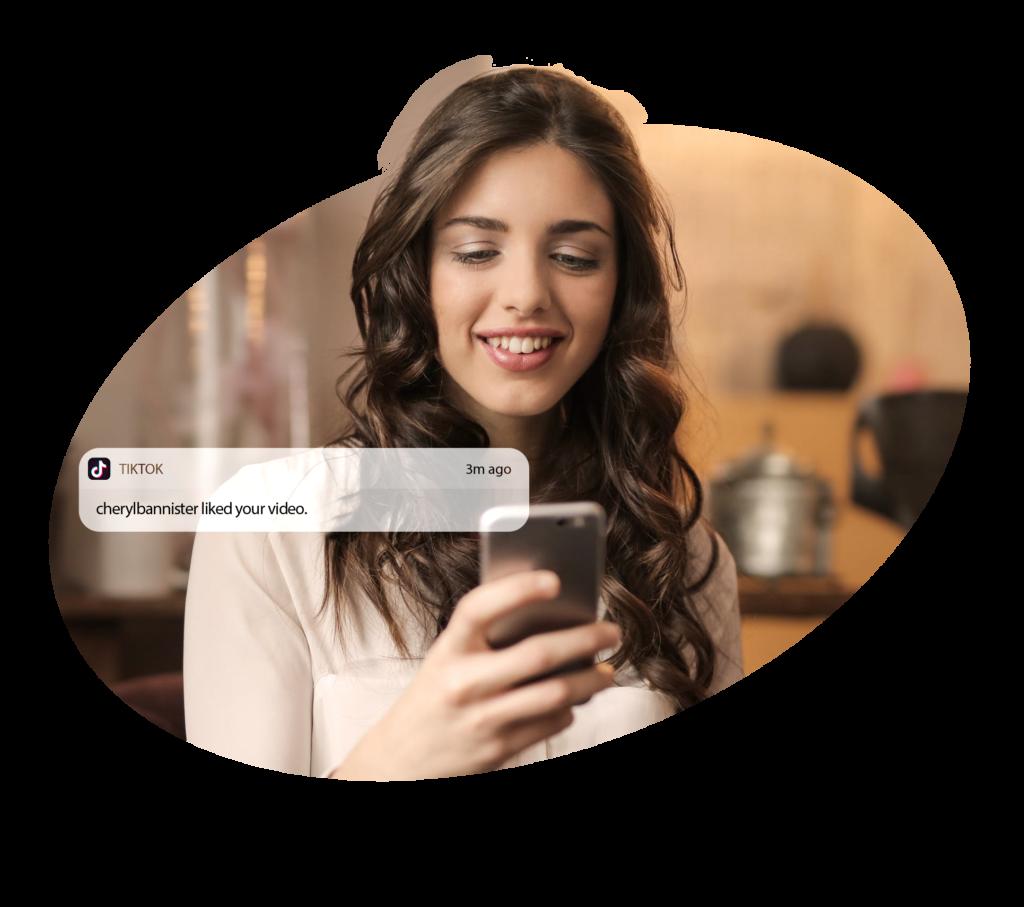 TikTok Girl receives tiktok likes notification