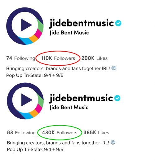 TikTok followers before and after using Growtok TikTok Growth Service